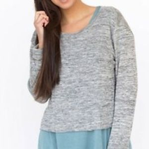 Gray Cropped Pullover Knit Top